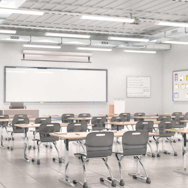 Classroom interior. 3D illustration.